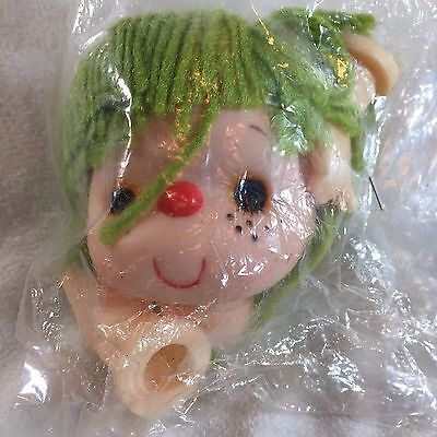 Vintage Darice DOLL HEAD W/ HANDS Craft Supplies 50019 - LIME GREEN Yarn Hair
