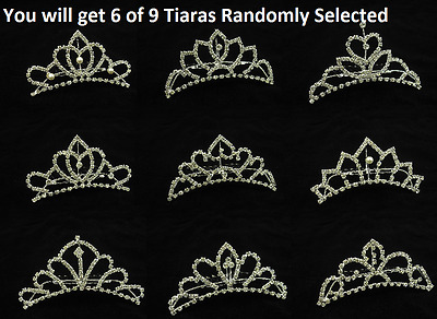 Bulk Lot of 6 Clear Crystal Wedding Bridal Small Tiara Comb Hair Accessories