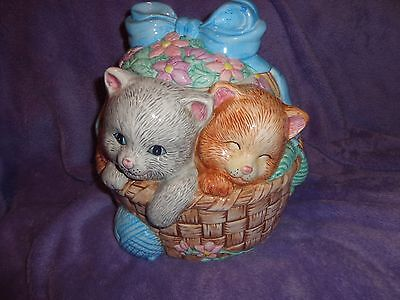 "Adorable  ""kittens In A Basket "" Ceramic Cookie Jar ~ Cat / Kitty ~ Made N China"