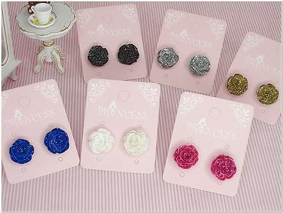 Wholesale Lot Bulk Lot of  6 pairs Glitter Color Rose Flower Studs Earrings