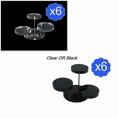 Bulk Lot of 3 Tier Black Or Clear Acrylic Jewelry Small Display Stand Riser x 6