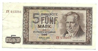 1964 East Germany -DDR-GDR 5 Mark Paper Money Note - Deutsche Notenbank