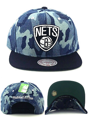 f6bc0b38d40 Brooklyn Nets New Mitchell   Ness Camo Blue Denim Black Era Snapback Hat Cap