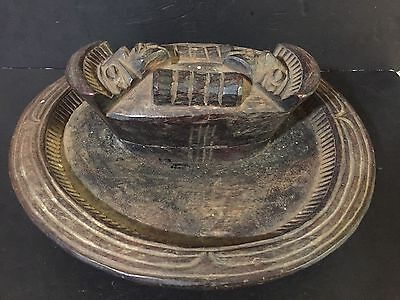 """AFRICAN WOODEN Offering Divination BOWL WITH TRAY Yoruba center piece 15"""" VTG."""