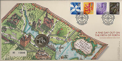 Great Britain Cover The Firth Of Forth Scotland Qeii £1 Royal Mint Coin