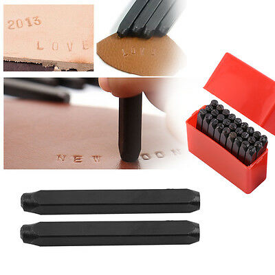 9/27Pcs 4MM Letter /Number Stamp Punch Set Hardened Steel Metal Leather+Case ES