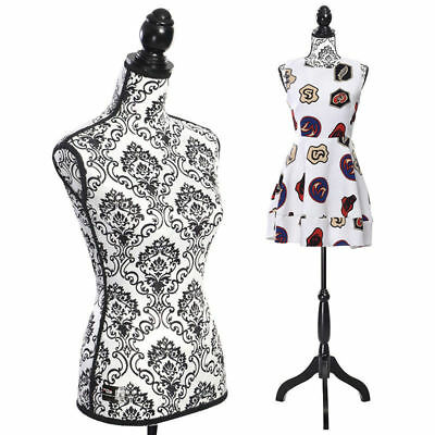 Female Mannequin Body Torso W/ Black Tripod Stand Designer Dress Form Display