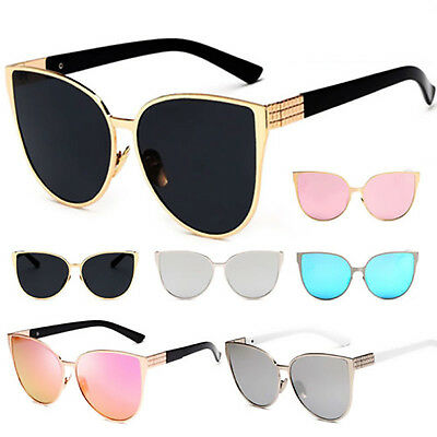 Womens Oversized Cat Eye Sunglasses  Vintage Shades Metal Frame Glasses 6 Color