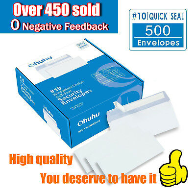 Ohuhu #10 Security SELF-SEAL Envelopes Size 4-1/8 x 9-1/2 Inches White 500Ct
