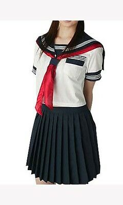 Japanese Short Sleeves Pleated Skirt Navy Sailor School Uniform Cosplay Costume