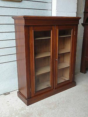 Antique Victorian Mahogany Glazed Bookcase With Lock & Key