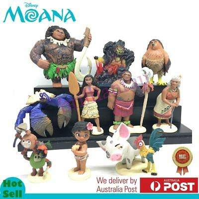 10 Pcs Disney Moana PVC Action Figures Cake Topper Decor Figurines Kid Play Set