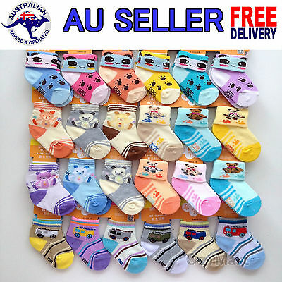 6 PAIRS Quality Baby Girls Boys Multi Colors Socks Size 0 - 12 Month