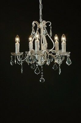 Enamel White Chandelier Ceiling Light 5 Arm With Clear Cut Glass Crystals Home