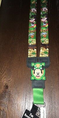 New Disney Parks Exclusive Reversible Lanyard Mickey/Minnie With Shamrocks
