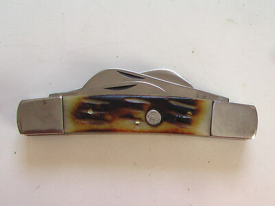 VINTAGE CONGRESS FOLDING KNIFE  Large  4 Blade With Burnt stag Handle