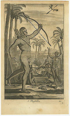 Antique Print-BRAZIL-NATIVES-HUNTING-BOW-ARROW-CANNIBAL-Churchill-Nieuhof-1744