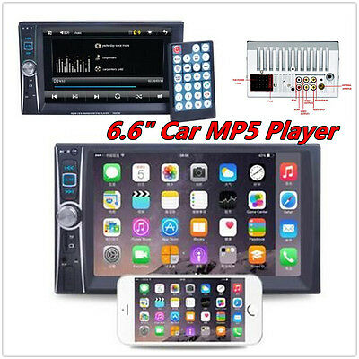 """Bluetooth Car Stereo DVD CD MP3 Player 6.6"""" Double 2Din Radio In-Dash + Camera"""