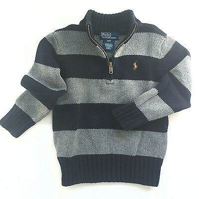 Ralph Lauren Polo Baby Boys Cotton Half-Zip Striped Pullover Sweater, 2T - EUC!