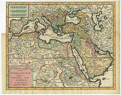 Antique Map-TURKEY-TURKISH EMPIRE-ASIA-AFRICA-ARABIA-COLOURED-Tirion-1733