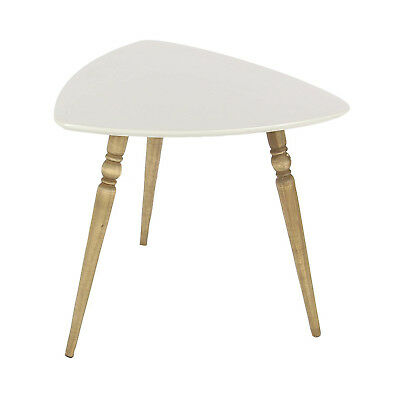 Deco 79 Rounded Triangle White Matte Finish Wooden Accent Side End Table Stand