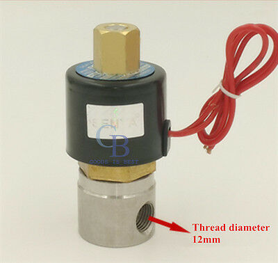 """DC 12V 1/4"""" BSPP Stainless Steel 304 Normally Open Electric Solenoid Valve N/O"""