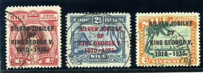 Niue 1935 KGV Silver Jubilee set complete very fine used. SG 69-71. Sc 67-69.
