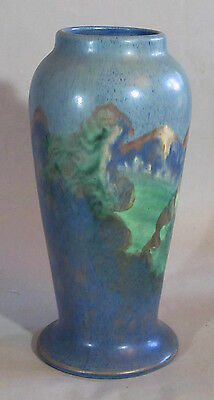 Arts And Crafts Art Pottery Scenic Vase 12 Inches High.