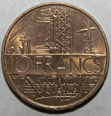 French 10 Francs Coin, 1976 - KM# 940 - France - 10 Industry Map Georges Mathieu