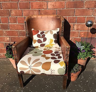 Antique Leather Studded Small Armchair  - Project