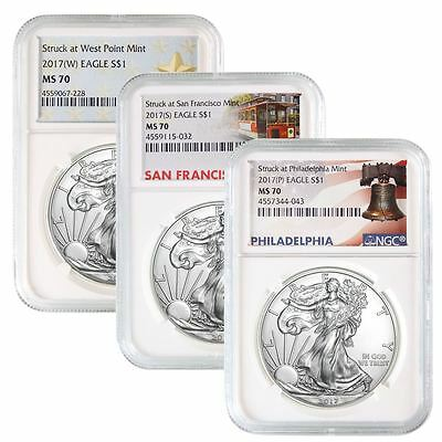2017 (W)(S)(P) American Silver Eagle NGC MS-70 | Mint Label Set