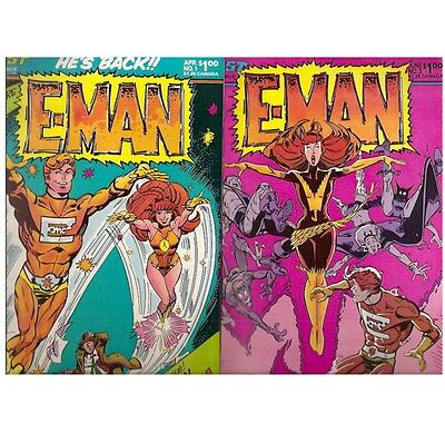 D034 Lot Of 6 E-Man Comics 1980's Vintage Near Mint Comic Books