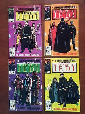 Star Wars Return of the Jedi Marvel Comic Book Set #1-4  Movie Adaptation 1983