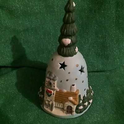 "PORCELAIN CHRISTMAS TREE DINNER BELL  6"" TALL With Original Box"