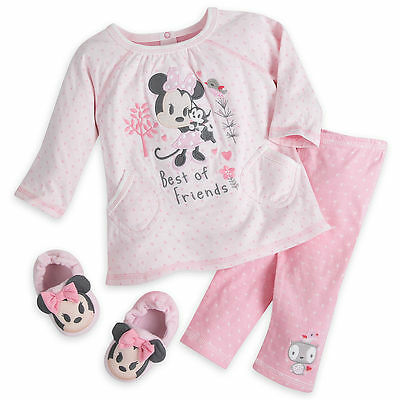 Disney Store Official Baby Minnie Mouse Pyjamas & Slippers Set