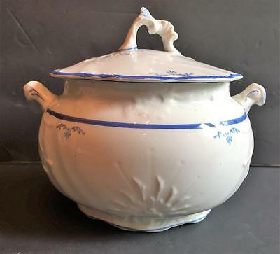 Vintage POPE GOSSER China Covered Serving Dish Bowl Pot w/ Lid White & Blue