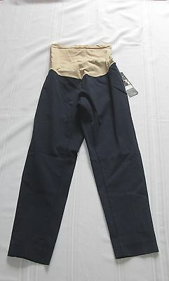 NEW Oh Baby Motherhood Navy Blue Stretch Maternity Crop Pants L NWT $48.