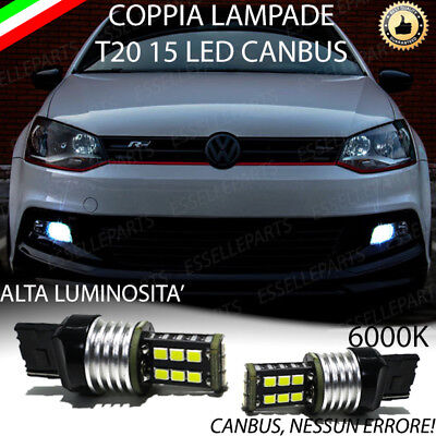 Coppia Luci Diurne Drl 15 Led T20 W21W Canbus Vw Polo 6C 6000K No Error