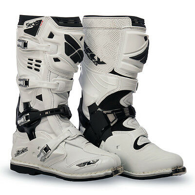 Fly Street Sector Mens Leather Adult Lightweight MX Offroad Boot [White,12]