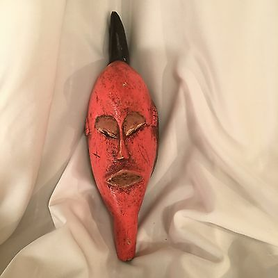 African Guro Mask Ivory Coast West Africa Red Hand Carved