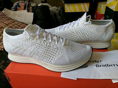 038a3779548d Nike Flyknit Racer Goddess Triple White Sail Pure Platinum 526628-100 Earth  Tone