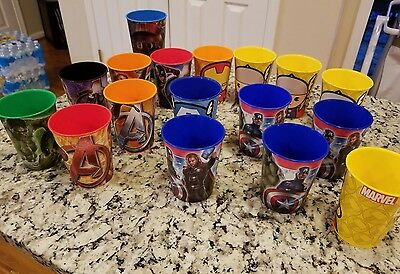 Lot 17 2012 Marvel & Subs Comic Cups Glasses Collectable Avenger Thor Spiderman