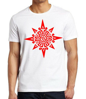 New Red Ancient Aztec Sun Symbol Men's White T Shirt V383 Mayan Tribal Mexico