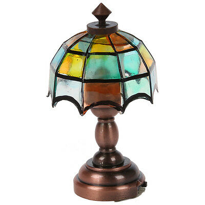 SS Bronze Metal 1:12 Dollhouse Miniature LED Desk Lamp Model with Multicolor Umb