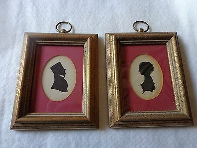 "Vintage Pair of Silhouette Pictures Gentleman and Lady 4 1/4"" x 5 1/4"""