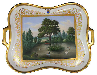 Fine 19thC KPM Scepter Mark Scenic Hand Painted Porcelain Tray