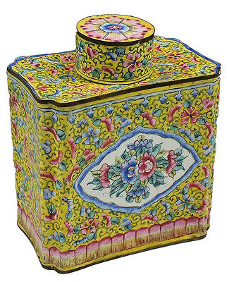 18th C Chinese Enamel Tea Caddy Imperial Yellow w/ Lotus Pattern & Flowers