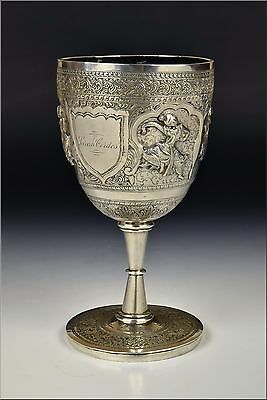 19th Century Burmese Silver Presentation Chalice w/ Relief Characters