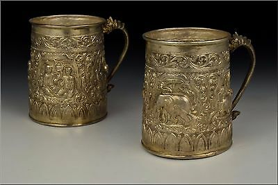 Burmese 950 High grade Silver Mugs w/ Character / Animal Scenes