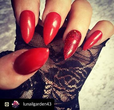 Hand Painted Red Gel False Nails Stiletto Full Cover Tips - Press On Nails